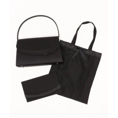 バッグ ハンドバッグ 【喪服用】結びリボンデザインブラックフォーマルバッグ・サブバッグ・袱紗3点セット
