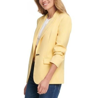 ダナ キャラン ニューヨーク ジャケット&ブルゾン アウター レディース Logo Clasp Blazer Sunkiss Yellow