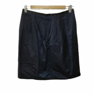 【中古】デプレ トゥモローランド スカート タイト コクーン ミニ タック リネン混 0 紺 黒 ネイビー ブラック