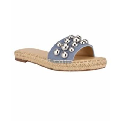 ナインウェスト レディース サンダル シューズ Women's Blast Studded Espadrille Slide Sandals Light Blue Suede