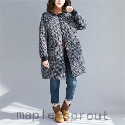 コートレディース中綿コートアウターチェスターコートキルティングジャケットロング丈中綿入りチェック柄ゆったりラウンドネック40代