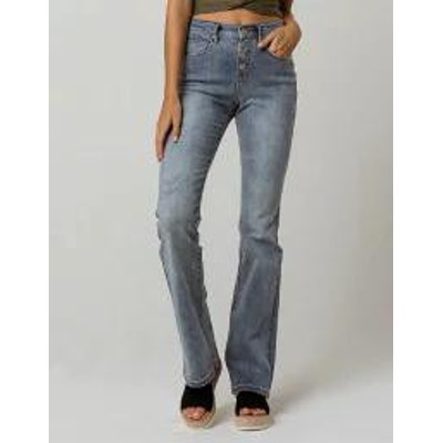 SKY AND SPARROW レディースパンツ SKY AND SPARROW Exposed Button High Waisted Womens Flare Jean