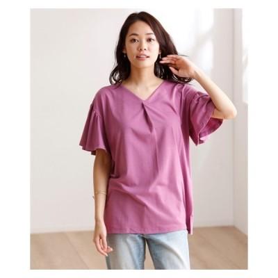 Tシャツ カットソー 大きいサイズ レディース フロントタックフレアスリーブ トップス  LL/3L ニッセン