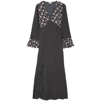 RIXO 7分丈ワンピース・ドレス ブラック L レーヨン 100% 7分丈ワンピース・ドレス