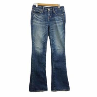 【中古】マウジー moussy VINTAGE パンツ デニム ジーンズ ブーツカット ジップフライ 25 紺 ネイビー レディース