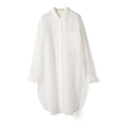 シャツ ブラウス ESTNATION / コットンシルクシースルーロングシャツ