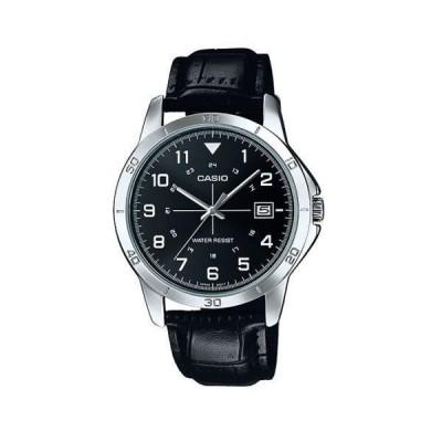 腕時計 カシオ Casio メンズ ブラック レザー ストラップ 腕時計  デイト  MTP-V008L-1B