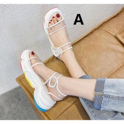 サンダル おしゃれ 透ける NEW 厚底 2色 レディース ミュール 靴 春夏 韓国風 令和 パンプス 6CMくらいヒール 履きやすい ローヒール 美脚 20代30代40代
