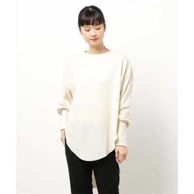 tシャツ Tシャツ ワッフル起毛ロングトップス