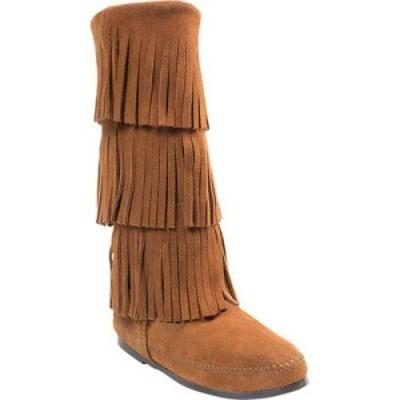 ミネトンカ Minnetonka レディース ブーツ シューズ・靴 3 Layer Fringe Boot Brown Suede