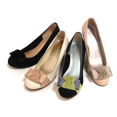 パンプス JELLY BEANS ジェリービーンズ JB コンビリボンウエッジパンプス(112-9363) シューズ 靴 お取り寄せ商品