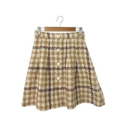 プロポーション ボディドレッシング PROPORTION BODY DRESSING スカート フレア ミニ ジップフライ ツイード ウール混 2 白 ホワイト 茶 ブラウン レディース
