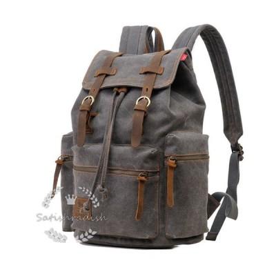 リュックサック メンズ キャンバス 通学 無地 帆布バッグ 鞄かばん 大容量 旅行 登山 ヴィンテージ バックパック 12〜17センチPC対応
