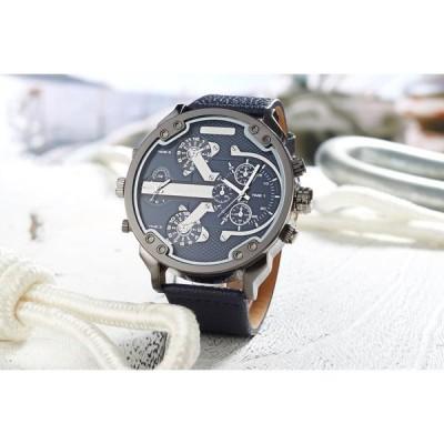 腕時計 メンズ Oulm 海外ブランド クオーツ HP3548 スチームパンク レザーバンド デュアルタイムゾーン 輸入雑貨 ウォッチ