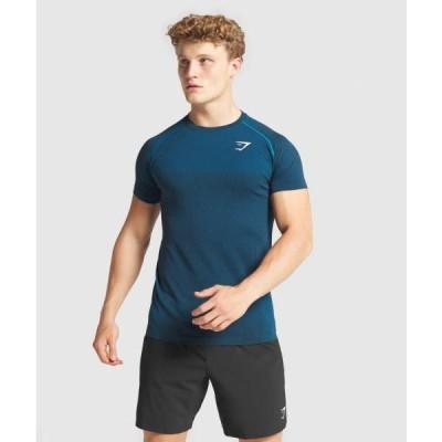 ジムシャーク メンズ Tシャツ スリムフィット ボディビル Tシャツ ジムシャーク バイタル シームレスTシャツ GYMSHARK フィジーク ウエア