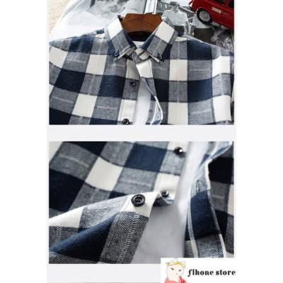 メンズ 長袖シャツ カジュアルシャツ 春 トップス 開襟シャツ ファッション メンズ ネルシャツ スリム 秋