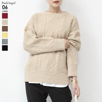 ニット トップス 冬 レディース 編み アランニット 40代 30代 暖かい 黒 大きいサイズ ケーブル編み プルオーバー 長袖 セーター ゆったり オフィス 新作