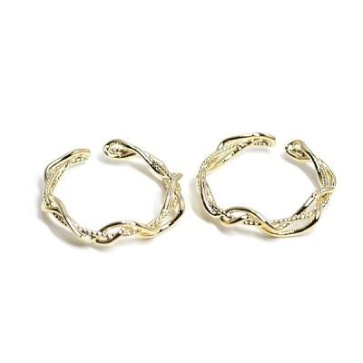 【1個】曲線の絡み合いの光沢ゴールドフリーリング、指輪 NF