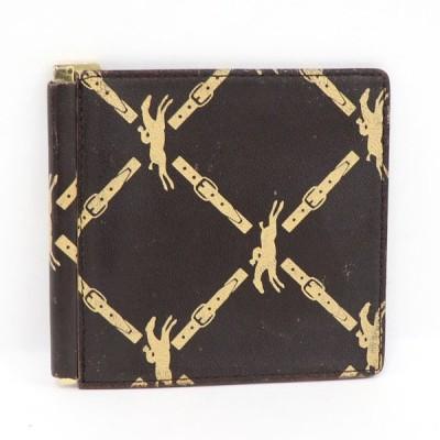 【中古】 ロンシャン 二つ折り財布 札入れ マネークリップ ブラウン レザー