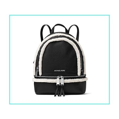 【新品】MICHAEL Michael Kors Rhea Zip Medium Leather Backpack Black/Natural(並行輸入品)