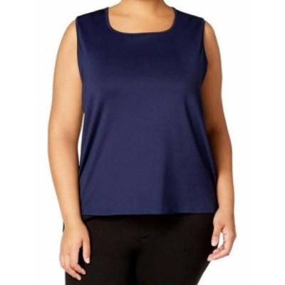 ファッション トップス Kasper NEW Navy Blue Womens Size 3X Plus Sleeveless Square Neck Blouse