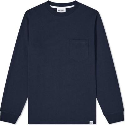 ノースプロジェクト Norse Projects メンズ 長袖Tシャツ ポケット トップス Long Sleeve Johannes Pocket Tee Dark Navy