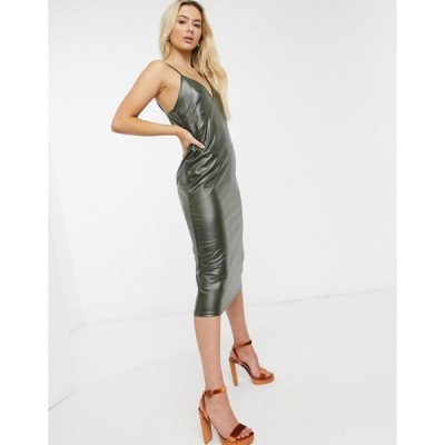 エイソス レディース ワンピース トップス ASOS DESIGN strappy leather look midi slip dress in khaki