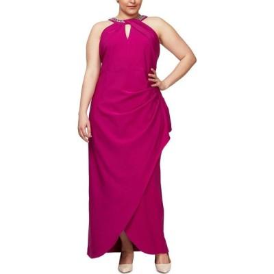 SL ファッションズ SL Fashions レディース パーティードレス 大きいサイズ ワンピース・ドレス Plus Size Embellish Halter Gown Fuchsia Pink