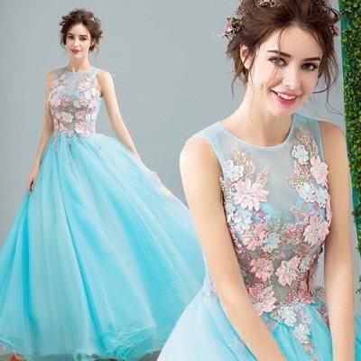 カラードレス 花嫁 スレンダーライン 花嫁ウェディングドレス 花柄ドレス 二次会 花嫁 結婚式 謝恩会 編み上げタイプ