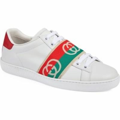 グッチ GUCCI レディース スニーカー シューズ・靴 Ace Logo Band Sneaker White/Green/Red