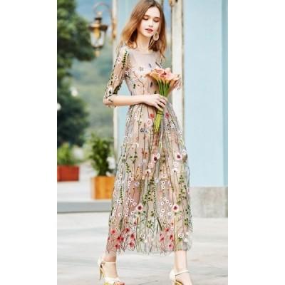 華やか 花柄 刺繍 可愛い シースルー 袖あり ワンピース ドレス