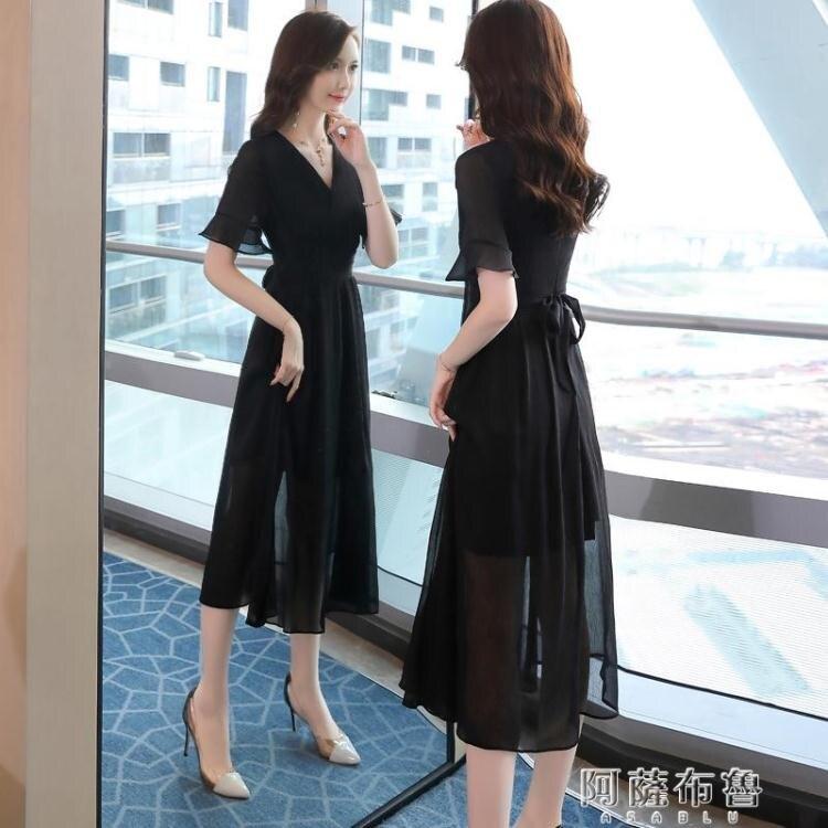 雪紡洋裝 收腰顯瘦氣質V領裙子夏季新款流行女裝仙女超仙雪紡連身裙潮