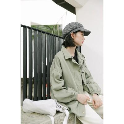 ジャケット Gジャン デニム コットンジャケット? カバーオール アウター 長袖 グリーン オフホワイト レディース ショート丈 かわいい 大人 上品 ポケット