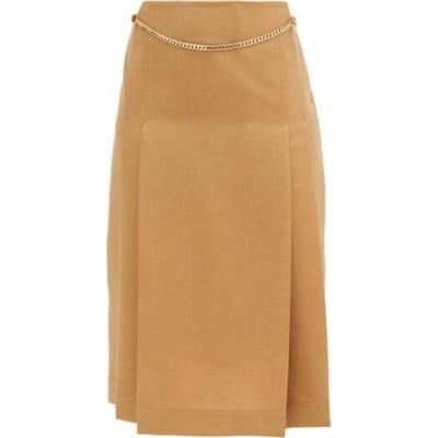 ヴィクトリア ベッカム Victoria Beckham レディース ひざ丈スカート スカート Belted pleated wool high-rise skirt Beige