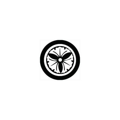 家紋シール 丸に三つ銀杏紋 直径4cm 丸型 白紋 4枚セット KS44M-0561W