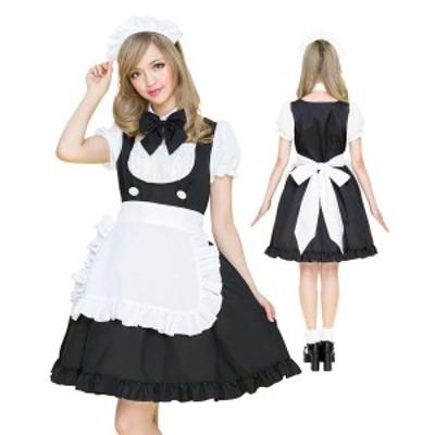 コスプレ メイド服 フリル ブラック ハロウィン メイド ワンピース エプロン カチューシャ 衣装