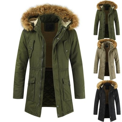 3色 メンズ 中綿ジャケット 中綿コート モッズコート 冬物   モッズコート     防寒  厚手  裏起毛  フード取り外せ可能 フェイクファー