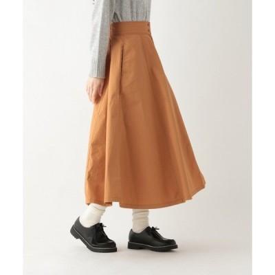 スカート コットン切り替えフレアスカート