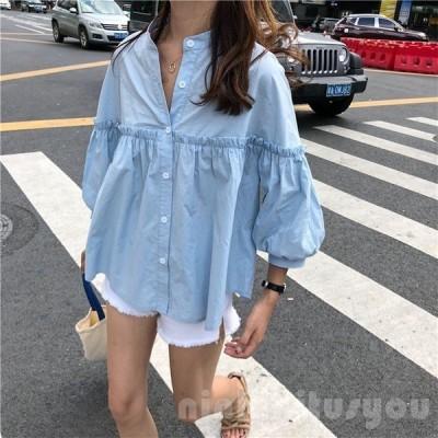 トップスシャツブラウスレディーススタンドカラー七分袖パフスリーブ切り替えフリルゆったりフリーサイズ韓国ファッション春夏秋
