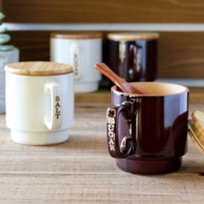 キャニスター 塩 砂糖 容器 マグキャニスター 陶器 木製蓋 スプーン ソルト シュガー ストッカー キッチン用品 キッチン雑貨 調味料容器