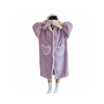フランネル 秋冬用 ふわふわ部屋着 ルームウェア フード付き 長袖 レディース パジャマ 兎 可愛い 大きい ゆったり ポケット 防寒