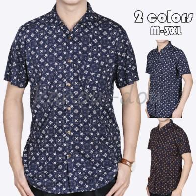 シャツ メンズ カジュアルシャツ トップス 半袖 シャツ オープンカラーシャツ 開襟シャツ 大きいサイズ ファッション 総柄 シャツ 夏 ビジネス 紳士服 2色