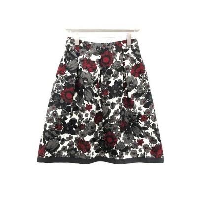【中古】エムズグレイシー M'S GRACY スカート フレア ひざ丈 花柄 ジャガード 38 マルチカラー サンプル品 /KH レディース 【ベクトル 古着】
