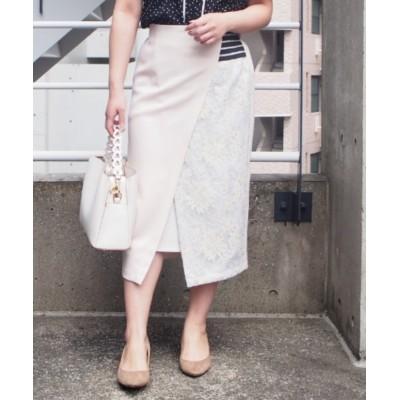 【インタープラネット】 レース使い配色ラップスカート レディース ベージュ 002 INTERPLANET