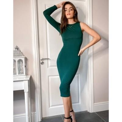 エイソス レディース ワンピース トップス ASOS DESIGN one shoulder long sleeve midi dress in forest green