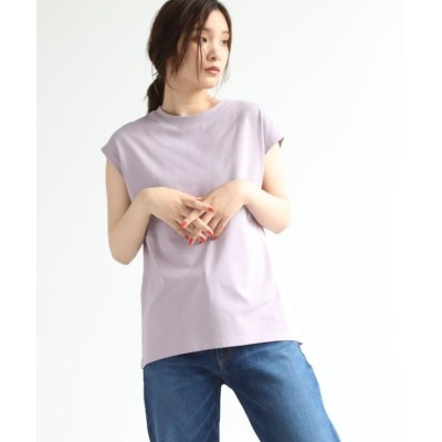 (OZOC/オゾック)【洗える】GIZAコットンフレンチTシャツ/レディース ライトパープル(081)
