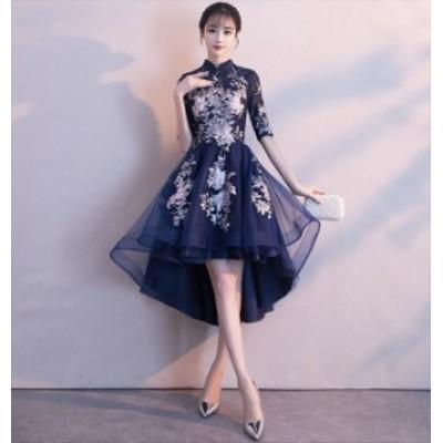 スタンドカラー アシンメトリー 花柄 刺繍 チュール ウエストマーク エレガント 華やか ミディアム丈 ドレス
