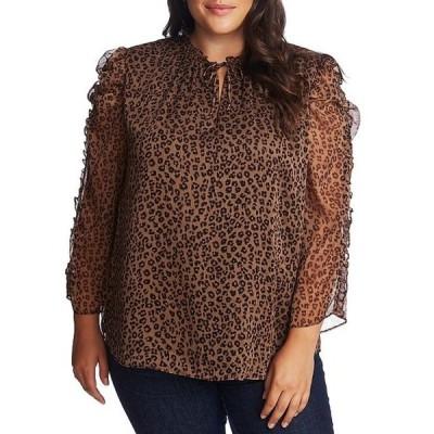セセ レディース シャツ トップス Plus Size Tie Neck Ruffle Sleeve Detail Leopard Print Blouse