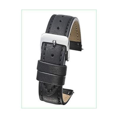 本革 セミパッドステッチ 腕時計バンド (手首サイズ6-7 1/2インチ) - ブラック、ブラウン - 22mm、24mm 22mm ブ