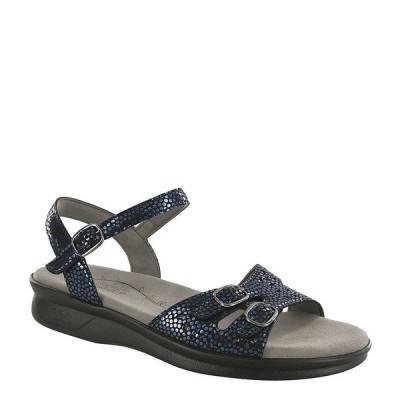 エスエーエス レディース サンダル シューズ Duo Shiny Dot Print Leather Sandals Navy Perla